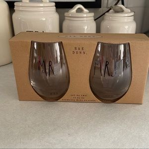 Rae Dunn MR & MRS stemless wine glasses